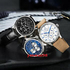 43mm Parnis blue white dial power reserve week 26 jewels Miyota automatic watch