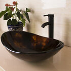 Oval Bathroom Tempered Glass Vessel Sink ORB FaucetPop up Drain Combo Set