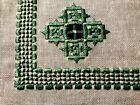 Old Vintage Hand Made Hardanger Embroidery  in White/Green Runner 39