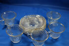 Diana, Federal Glass 5 Cups and 5 saucers with Gold Demitasse