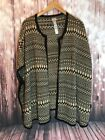 CHICO'S RUANA BLACK TAN  PONHO CAPE SWEATER ONE SIZE OS CARDIGAN NWOT