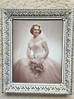 Metal Filigree Picture Frame Goldtone White Mid Century 8x10 with Bride Photo