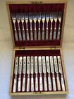 SS (Joseph Elliot and Sons) Antique Mother of Pearl Fish Knife and Fork Set