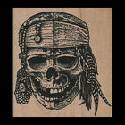 SKELETON PIRATE Rubber Stamp Halloween Rubber Stamp PIRATE SKULL HEAD New