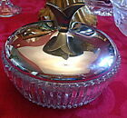 Vintage Clear Glass Candy Dish With Stainless Steel Lid