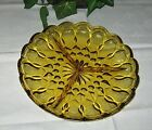 Anchor Hocking Fairfield Amber glass 3part relish tray serving dish divide plate