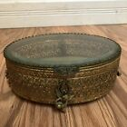 Antique Stylebuilt Gold Plated JEWELRY Trinket Footed Box w Beveled Glass Top