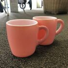 2 Vintage Hazel Atlas Pink / Milk Glass Mug Coffee Cups