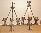 2 GORGEOUS LARGE RARE RUSTIC, SPANISH, GOTHIC, HAND FORGED CANDELABRA WALL SCONC