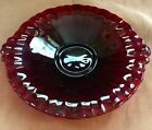 VTG Ruby Red Glass Double Handle Shallow Relish Tray Bowl 8 1/2