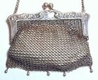 Antique Vtg German Silver Art Nouveau Floral Chain Mail Mesh Purse Evening Bag