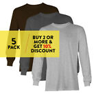 5 PACK AAA 1304 ALSTYLE MENS PLAIN LONG SLEEVE T SHIRT CASUAL SHIRTS COTTON TEE