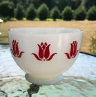 Vintage Fire King Sealtest Cottage Cheese Red Tulip Bowl