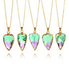 Women Men Green Purple Triangle Natural Stone Crystal Pendant Alloy  Neecklace
