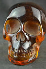 COLLECTIBLE OLD CHINESE HANDWORK AMBER SKULL STATUE