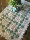 Lovely! Authentic Vintage 30s Green White DOLL QUILT Irish Chain Sawtooth Edge
