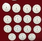 15 Pc. Lot of Waltham, 0s, Enamel Watch Dials, Roman Numerals, Red Minute Marks