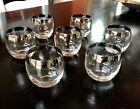 VTG Set of 7 Clear Silver Trim Roly Poly Dorothy Thorpe Cocktail Glasses