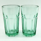 Libbey Spanish Green Glass Water Glasses Tumblers Gibraltar Pattern Lot of 2
