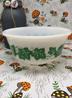 Hazel-Atlas Milk Glass Green Southern Ivy Design Small Mixing Bowl 7 Inch