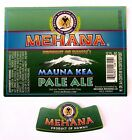 Mehana Brewing Co MAUNA KEA beer label HI 12oz with neck - USED