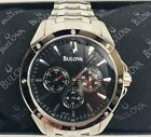 Bulova 96C107 Stainless Steel Black Dial Day Date Men's Watch  Brand New.