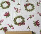 Vintage Cotton Christmas Fabric c 1940-1950~Candy Canes,Wreaths,Bells~27