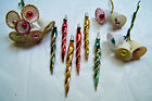 VTG Lot Glass Swirl Icicle Christmas Ornaments  Sugar Bell Picks Glass Clappers