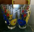 (8) Vintage Hand Painted Juice Glasses Blue Yellow Red Flowers Green Leaves EUC