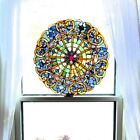 Multi-Colored Stained Glass Webbed Heart Window Panel Tiffany Style Art 22 inch