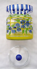 Vintage Hand Painted Sugar bowl Clear Glass Yellow Blue Flowers