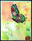 Beautiful Whimsical Butterfly Flowers Flying  Blank Note Card NEW