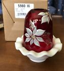Fenton Glass 2003 Poinsetta Flowers Christmas Fairy Light New In Box Ruby Red