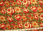 "100% Cotton Fabric ""Christmaas Presence"" by MODA, Dark Red with Flowers"