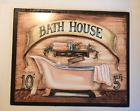 BATH HOUSE wooden Bathroom powder room country outhouse decor wooden sign