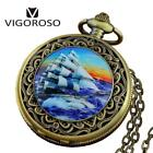Fashion Bronze Men Quartz Pocket Watches Blue Sea Water With Sailing Boat Analog