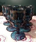 Tiara Indiana Glass 6 Vintage Smokey Blue Kings Crown Drinking Goblets !