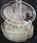 SET of 8 Snack Plate Homestead Federal Glass Clear Vintage Luncheon Whe
