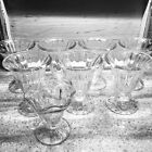 8 pc Vintage Retro Pressed Glass Ice Cream Sundae Cups Dishes Soda Fountain