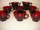 Lot 6 Ruby Red Anchor Hocking Cups with Creamer and Sugar
