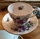 Vtg Teacup and Saucer Violets Royal Vale English Bone China Ridgway Potteries
