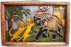 Old Design Wooden Hand Made Carved Panel Fine Painted Decorative Indian Art