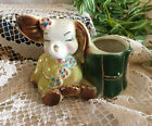 Vintage Ceramic Sitting Elephant Planter Yellow and Green W Gold Accents 1950s