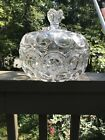 VERY LARGE CLEAR MOON AND STARS CANDY BOWL WITH LID