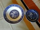 Antique ALLERTONS  BLUE WILLOW PLATE ROYAL CHINA BOWL  FLOW Vintage ORIENTAL