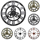 3D Gear Large Wall Clock Vintage Retro Roman Numerals Silent Sweep Non ticking