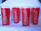 4 Mid Century Red Oriental Geisha Girl Glasses with Gold Rim