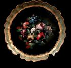 Gold Italian Florentine Wood Serving Designer Tole Tray