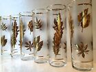 Vtg 6pc~LIBBEY 22K GOLDEN FOLIAGE~BAR GLASSES BEVERAGE TUMBLER FROSTED~14oz-6