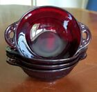 VINTAGE ANCHOR HOCKING ROYAL RUBY GLASS BERRY BOWLS - SET OF 4 - CORONATION